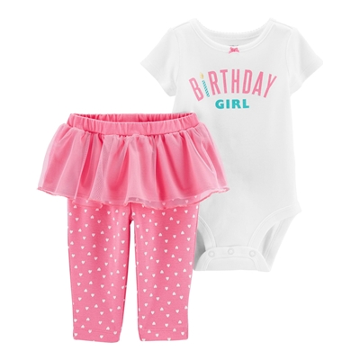 Carters 2-Piece Birthday Girl Bodysuit & Tutu Pant Set
