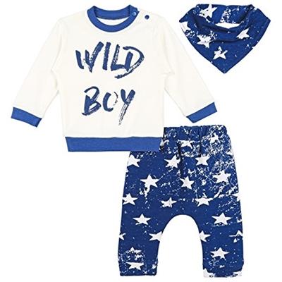 Lilax Baby Boy Long Sleeve Wild Boy Print Top, Star Pants and Bandana 3 Piece Set 6M Blue