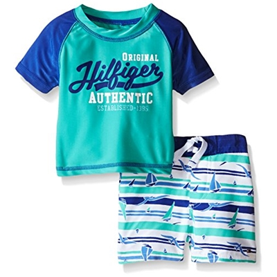Tommy Hilfiger Baby Boys Rash Guard Top and Microfiber Surf Shorts, Green, 3-6 Months