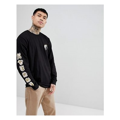 Stussy Long Sleeve T-Shirt With Yin Yang Fire Print In Black