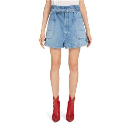 ISABEL MARANT Paperbag Waist Denim Shorts