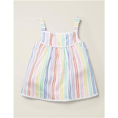 Boden Rainbow Stripe Woven Top - Multi Stripe