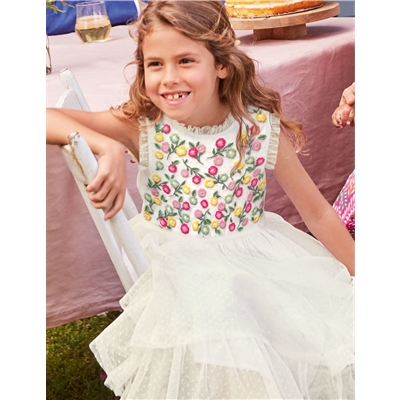 Boden Embroidered Floaty Dress - Ivory Embroidery