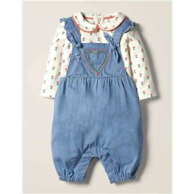 Boden Chambray Overalls Set - Mid Chambray