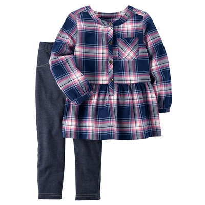 Carters 2-Piece Flannel Top & Jegging Set