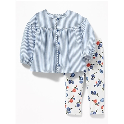 Oldnavy Button-Front Top and Leggings Set for Baby