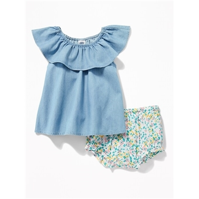 Oldnavy Ruffled Chambray Top & Floral Bloomers Set for Baby