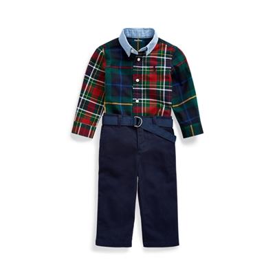 Polo Ralph Lauren Plaid Shirt, Belt & Chino Set