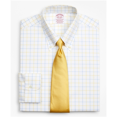 Brooksbrothers Stretch Madison Relaxed-Fit Dress Shirt, Non-Iron Poplin Button-Down Collar Double-Grid Check