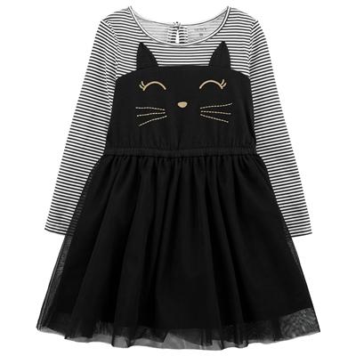 Carters Halloween Cat Jersey Dress