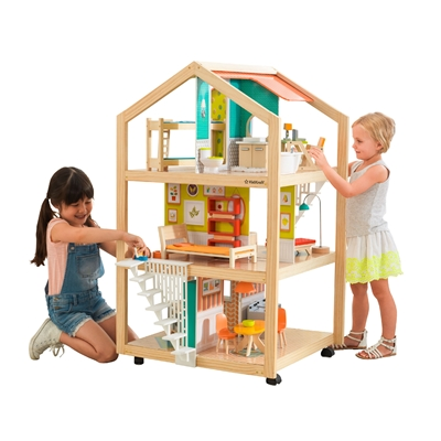 KidKraft So Stylish Mansion Dollhouse with EZ Kraft Assembly with 42 Accessories Included