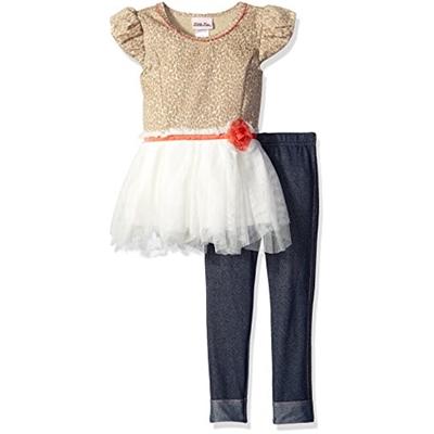 Little Lass Girls 2 Piece Legging Set Leopard Knit