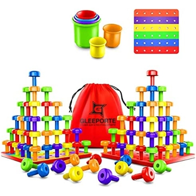 Gleeporte Stacking Peg Board Set Toy | JUMBO PACK | 60 Pegs & Board + FREE Stacking Cups + FREE Colorful Board + FREE Storage Bag | STEM Color Learning Montessori Occupational Therapy Fine M