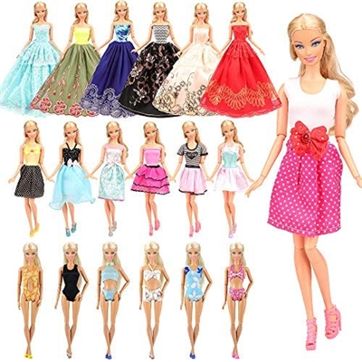 BARWA 16 Pack Doll Clothes and Accessories 10 PCS Fashion Dresses 3 PCS Wedding Gown Dresses 3 Sets Bikini Swimsuits for 11.5 inch Doll (A: 10Dresses + 3Wedding Gown + 3Swimsuits)