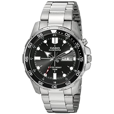 Casio Mens MTD-1079D-1AVCF Super Illuminator Diver Analog Display Quartz Silver Watch