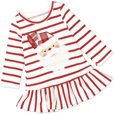 Christmas Santa Red Striped Baby Toddler Girl Holiday Shirt Dress