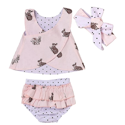Aalizzwell 3pcs Baby Girls Rabbit Printed Cross Shirt+Ruffled Leaf Short Pants+Headband Outfit Set