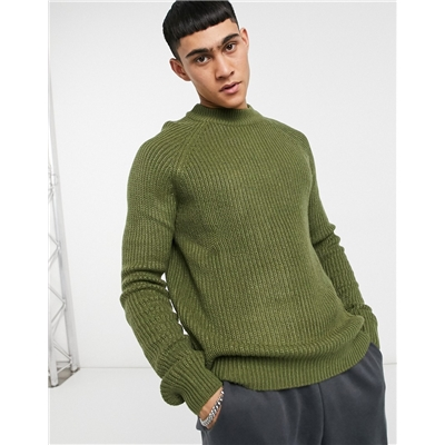 Pull&Bear turtleneck sweater in khaki