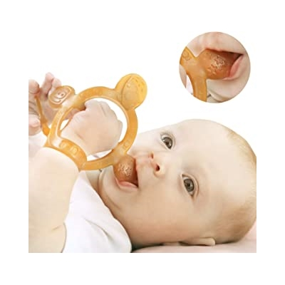 【Never Drop from Hand】 HEORSHE Baby Teething Toys for Babies 3-6 Months Teethers for Infants Toddlers Silicone Molars Adjustable Chew Toys for Babies 3 4 5 6 7 8 9 10 11 12 Months