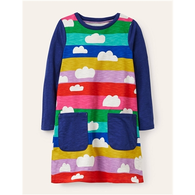 Boden Fun Pocket Jersey Dress - Multi Rainbow Clouds