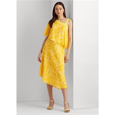 Lauren Print Georgette One Shoulder Dress