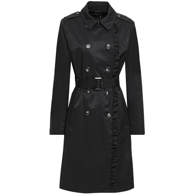 DKNY Black Ruffle-trimmed cotton-blend gabardine trench coat