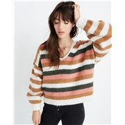 Madewell Balloon-Sleeve Pullover Sweater in Stripe Mix
