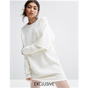 Bones Oversized Sweat Dress With Double Layer Sleeve And Lace Patches