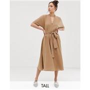 Glamorous Tall midi dress with belt tie and kimono sleeves