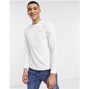 Lacoste reflective back logo long sleeve pima cotton t-shirt in white