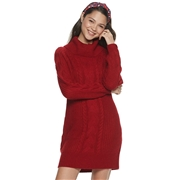 Its our time Juniors Its Our Time Cowlneck Cable Front Sweater Dress