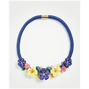 Anntaylor Seed Bead Flower Statement Necklace