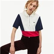 Lacoste Womens Zip Neck Colorblock Terrycloth Pique Polo