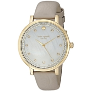 Kate Spade New York kate spade new york Womens Clocktower Grey Leather And Goldtone Monterey Watch