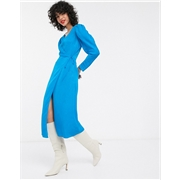 & Other Stories puff sleeve jacquard midi wrap dress in blue