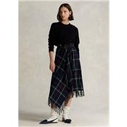 Polo Ralph Lauren Plaid Fringe-Trim Wrap Skirt