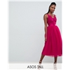 ASOS Tall ASOS DESIGN TALL Lace Top Tulle Midi Prom Dress with Ribbon Ties