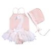 Stylesilove stylesilove Little Swan Ruffled Ballerina Girl Swimsuit and Hat, Light Pink