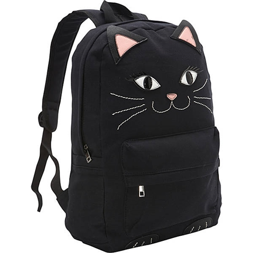 Ashley M Black Kitty Cat Canvas Backpack