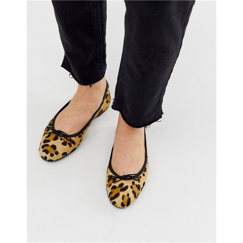 ASOS DESIGN Lenor leather bow ballet flats in leopard