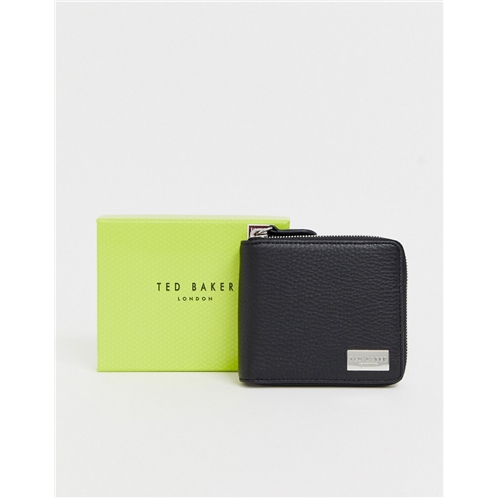 Ted Baker Baits leather zip around wallet in black