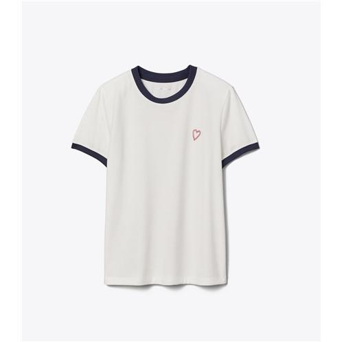 Tory Burch Flocked Love Ringer T-Shirt