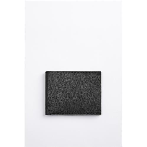 Zara BLACK LEATHER CARD WALLET