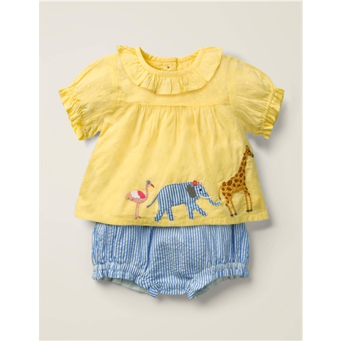 Boden Applique Woven Play Set - Soft Lemon Dobby