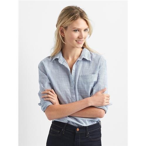 Gap Boyfriend Pinstripe Popover Shirt