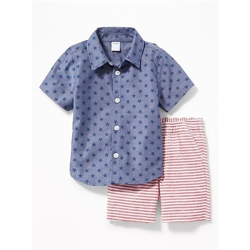 Oldnavy Star-Print Shirt & Striped Shorts Set for Baby