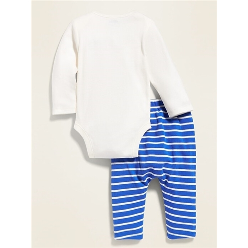 Oldnavy Dinosaur-Graphic Bodysuit & Striped Knit Pants Set for Baby