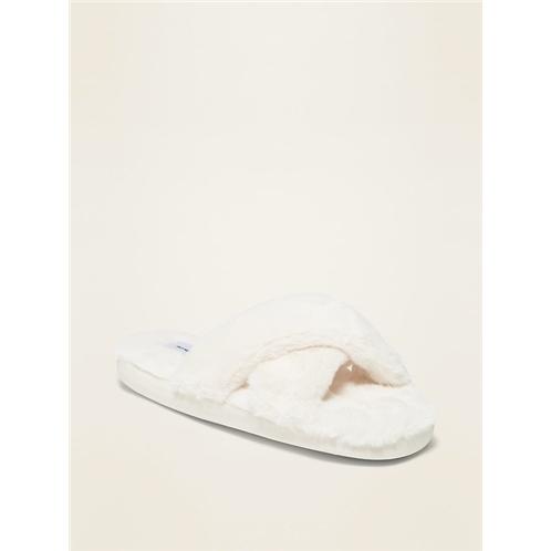 Oldnavy Faux-Fur Cross-Strap Slippers for Women