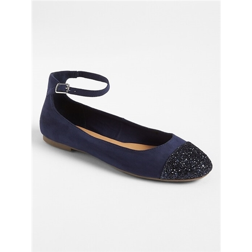 Gap Glitter Toe Cap Ankle-Strap Flats