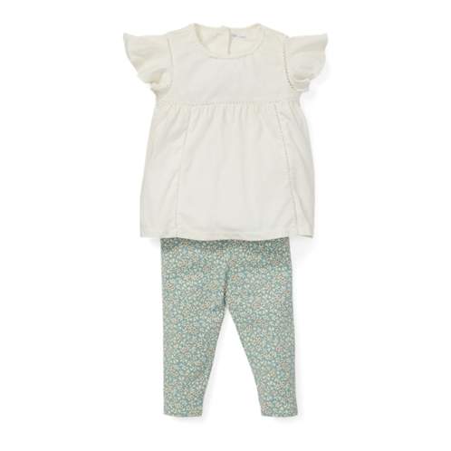 Polo Ralph Lauren Lace Top & Floral Legging Set